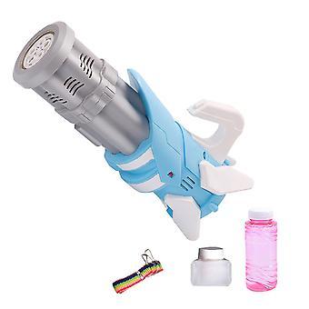 Sommer 2 in 1 Automatische Gatling Bubble Gun Spielzeug Seife Wasser Bubble Machine Spielzeug Elektrisch (Blau)