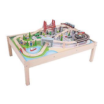 Игрушки поезда поезда комплекты бигджигов рельс деревянный городской поезд сервиз и стол - 59 игровых фигур