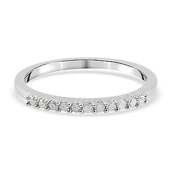 TJC White Diamond Half Eternity Ring Gift for Wife Sterling Silver(P)