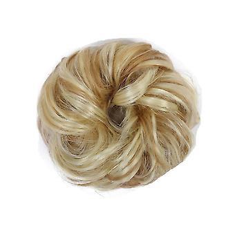 3 stk syntetiske fleksible hårboller krøllet Scrunchy Chignon Elastisk rodet bølget scrunchies wrap for