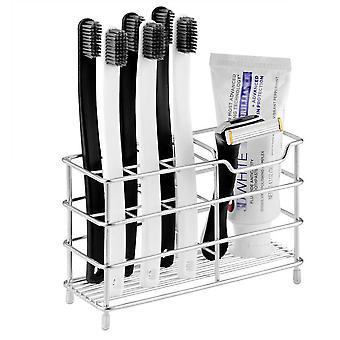 Hammasharjateline Ruostumattomasta teräksestä valmistettu ruosteenkestävä metallinen kylpyhuoneen hammastahnateline monikäyttöinen 7 paikkaa hammasharjan hammastahnan puhdistusaineelle
