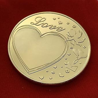 Rose Heart-shaped Love Angel Pièce commémorative plaquée or Collection de pièces de monnaie Dent Fée Pièce d'or Pièce commémorative
