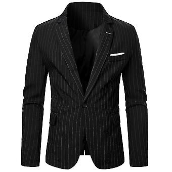 Yunyun Men's One Button Plain Slim Casual Stripe Daily Blazer Jacket