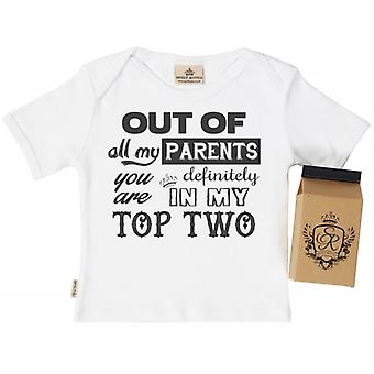 Spoilt Rotten Your In My Top Two! Babys T-Shirt 100% Organic In Milk Carton