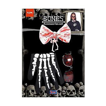 Verinen Halloween puku asettaa 4-osainen lentää lasit käsineet