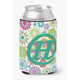 Letra H flores rosa Teal verde inicial lata ou frasco Hugger
