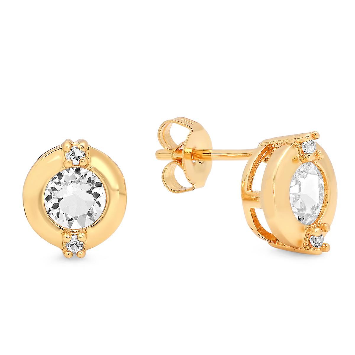 Ladies 18K Gold Plated Brass Bezel Stud Earrings