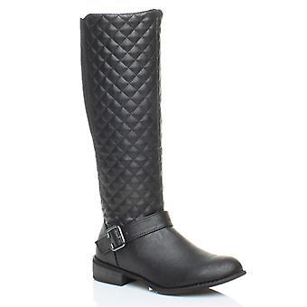 Ajvani Womens niedrigen Ferse flach Biker dehnen gesteppte Reiten Reißverschluss, breite Kalb Winter Knie Stiefel
