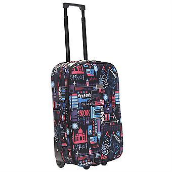 Slimbridge Algarve 55 cm Super lichtgewicht koffer, zwart/roze