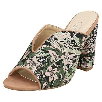Ladies Spot On High Chunky Heel Mules
