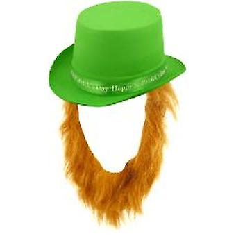 Happy St Patrick's Day Topper Hat Green With Beard