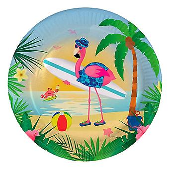 Party tallrik tallrik tallrik Flamingo Beach Party födelsedag diameter 23 cm 8st