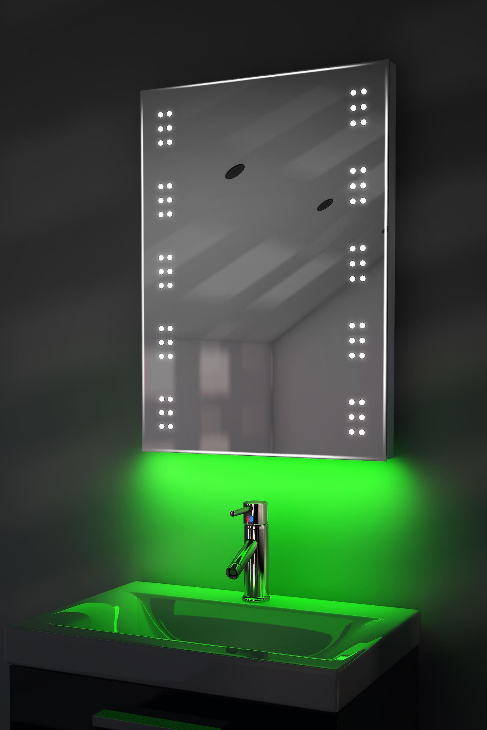 Auto Colour Change Rgb Ultra-Slim Mirror With Demister & Sensor K11Rgb