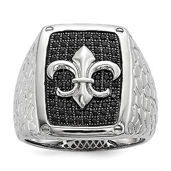 925 Sterling Silver Pave Fleur De Lis Rhodium plated and Black CZ Cubic Zirconia Simulated Diamond Brilliant Embers Mens