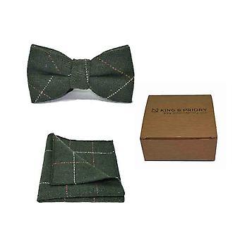 Luxury Herringbone Forest Green Tweed Men's Bow Tie & Pocket Square Set | Boxed