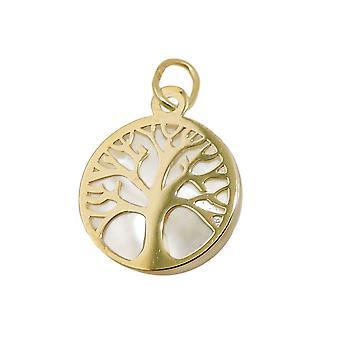Кулон 12 мм дерево жизни с перламутром 9Kt золото