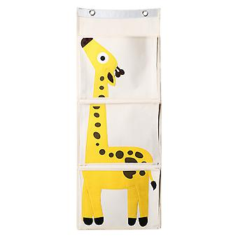 TRIXES Yellow Giraffe Canvas 3 Section Toy and Book Organiser - Perfect space saver for toy rooms, living rooms,