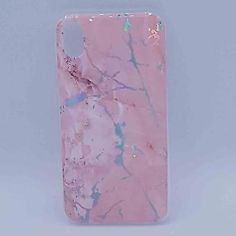 Pour le marbre IPhone XR-pochette-rose flash