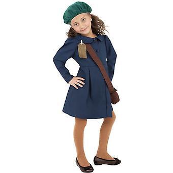زي فتاة تم إجلاؤهم في الحرب العالمية الثانية، ومتوسط عمر 7-9