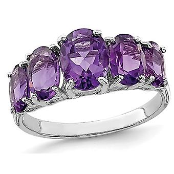3.40 Carat (ctw) Natural Five Stone Amethyst Ring in Sterling Silver