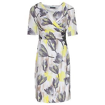 Michaela Louisa Short Sleeve Grey & Yellow Printed Dress