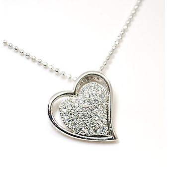 AEON Rhinestone Heart Rhodium Plated Floating Pendant on 16