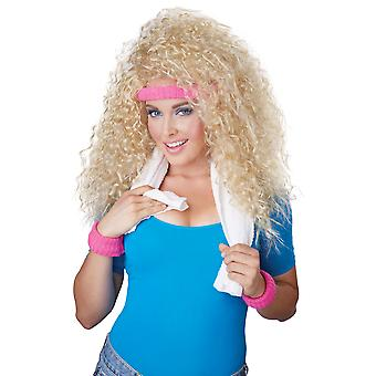 Let's Get Physical 1980s Blonde Big Hair Women Costume Wig Headband & Sweat Band