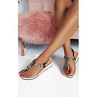 ИКРАШ женская Лолита драгоценностями т-бар сандалии