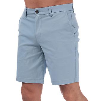 Mens Ben Sherman Stretch Chino Shorts In Sky Blue-Zip Fly-Pockets To Sides-