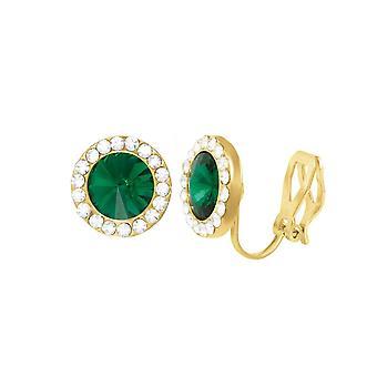 Ewige Sammlung Elfin Smaragd Grün österreichischen Kristall Gold Ton Stud Clip auf Ohrringe
