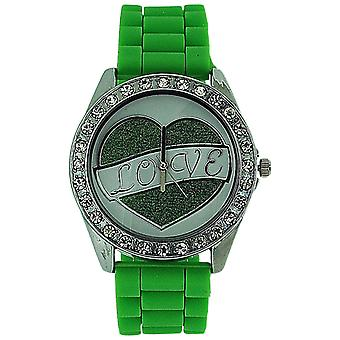 Ashley Love Glitter Heart Diamante Dial Green Rubber Strap Ladies Watch