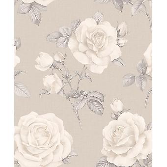 Rosa Floral Motif Luxury Wallpaper Belgravia Teal Navy Cream Grey