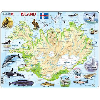 Kart over Island / øya med dyr - ramme/bord puslespill 29 cm x 37 cm (LRS K7-er)