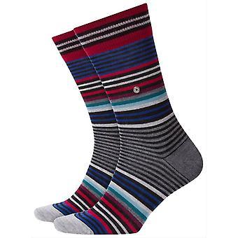 Burlington stripe sokker-grå/rød blå