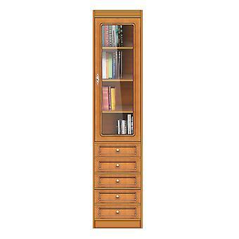 Librería modular con cajones de cristal y puerta