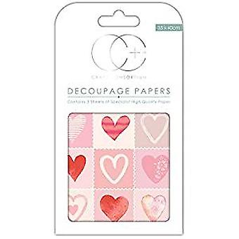 "Craft Consortium Decoupage Papers 13.75""X15.75"" 3/Pkg-Love Hearts"