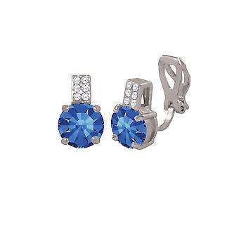 Eeuwige collectie strelen Sapphire Crystal en CZ zilver Toon Stud Clip op oorbellen