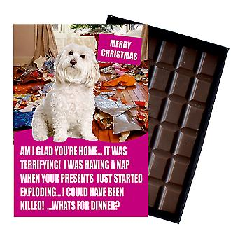 Bichon Frise Funny Christmas Gift For Dog Lover Boxed Chocolate Greeting Card Xmas Present