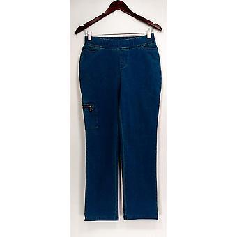 Denim & co. kvinner ' s Petite jeans Petite comfy strikk jeans blå A309545