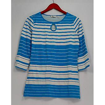 Liz Claiborne New York Top 3/4 Sleeve Striped Tee Blue A262180