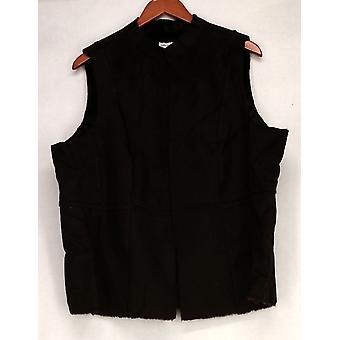 Susan Graver Faux Suede w/ Faux Fur Lining Brown Vest A209954
