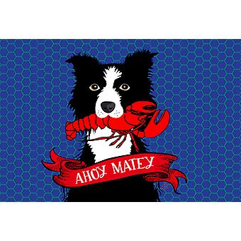 Ahoy Matey Nautical Border Collie Fabric Placemat