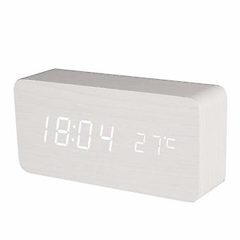 Digital LED Alarm Clock in wood design-white