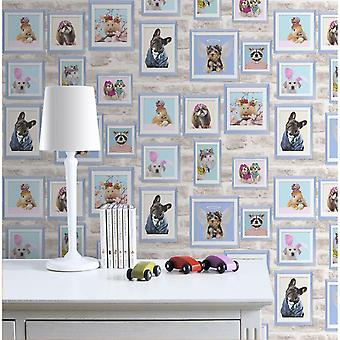 Picture Framed Pets Cats Dogs Wallpaper Brick Stone Wall Blue Grey White Fresco