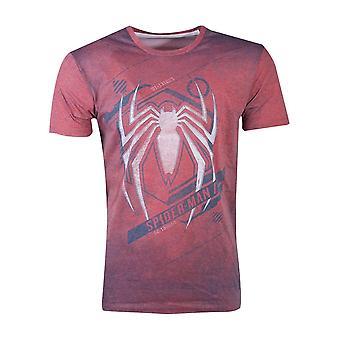 Marvel Spiderman Men's T-Shirt rot Acid Wash Spiderman
