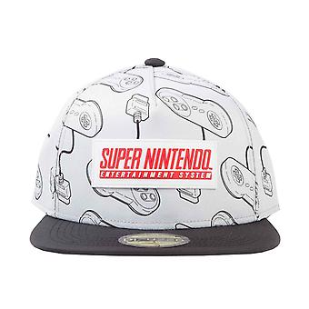 Nintendo Baseball Cap SNES Controller all over print new Official White Snapback