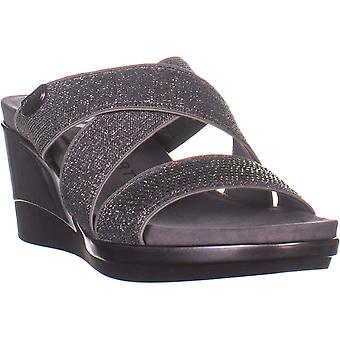Anne Klein Womens Polly tyg öppna tå casual plattform sandaler