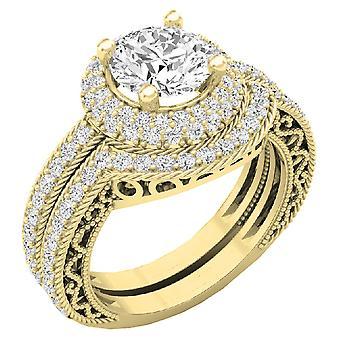 Dazzlingrock Collection 4.40 CT 14K Halo Round Cubic Zirconia CZ Wedding Bridal Engagement Ring Set, Yellow Gold