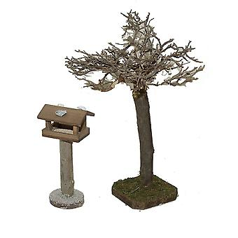 Krippenzubehör Krippenstall Krippenset mit Vogelhäuschen und Baum