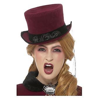 Luxe Victoriaanse Vampiress hoed, Bourgondië, met sluier